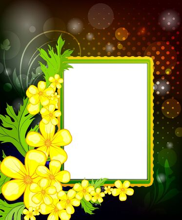 Photo frame on a floral background  Illustration