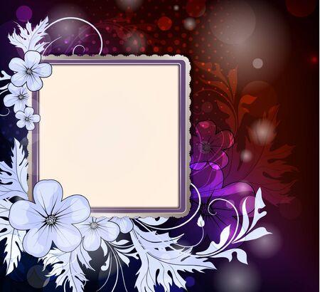 Photo frame on a floral background  Illustration