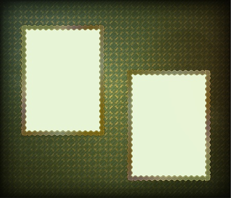 album background: blank frames for photo on the grunge fabric background
