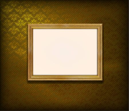 Old wooden frame for photo on the golden fabric background