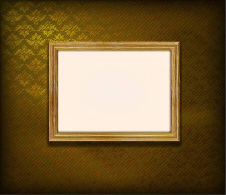 Oude houten frame voor foto op de gouden stof achtergrond