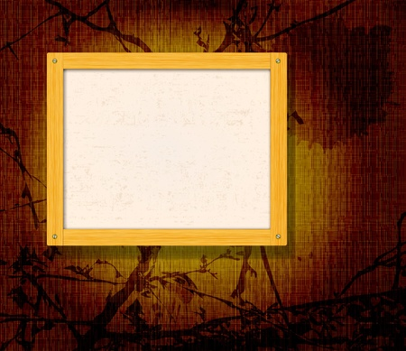 Old wooden frame for photo on the golden fabric background Stock Vector - 10458097