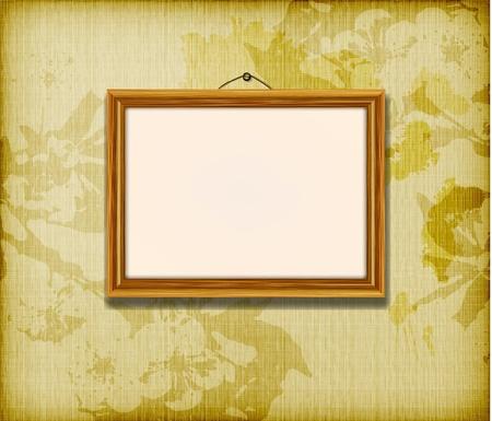 Oude houten frame voor foto op de gouden weefsel achtergrond