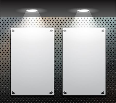 metallic banners: Metallic banners on a perforated background