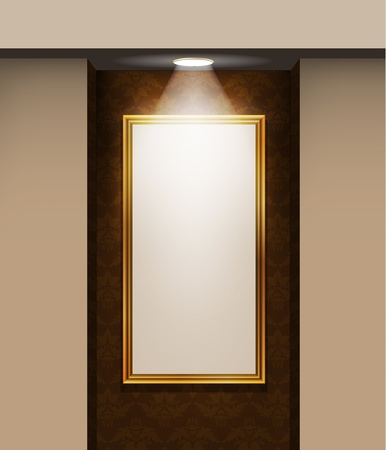 Picture frame on the wall in the room  Vector