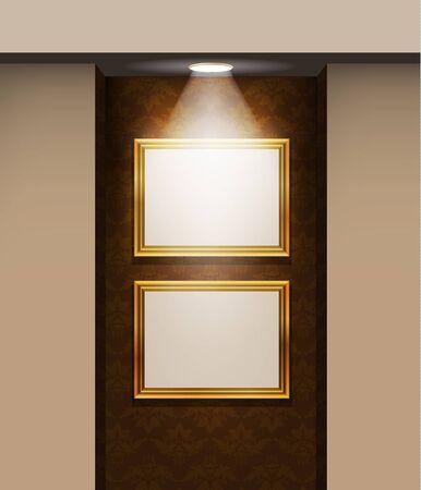 bilderrahmen gold: Bilderrahmen an der Wand in den Raum