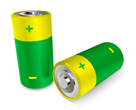 Two batteries on the white background, vector illustration  Vector