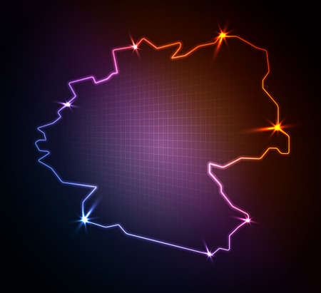 Germany map, stylized glowing vector illustration  Vector