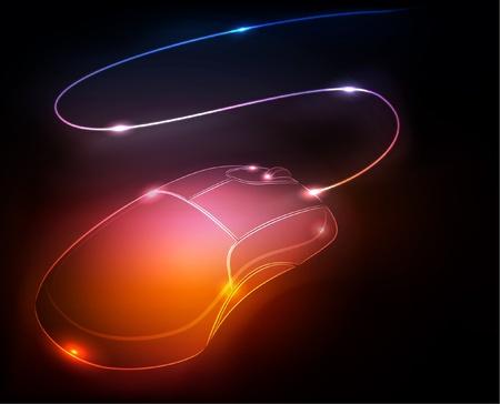 Gloeiende computermuis, vectorillustratie  Stock Illustratie