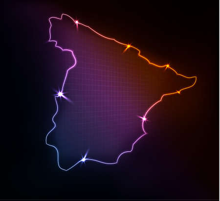 Spain map, stylized glowing vector illustration  Vector