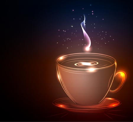 Cup of coffee, glowing vector illustration  Vector
