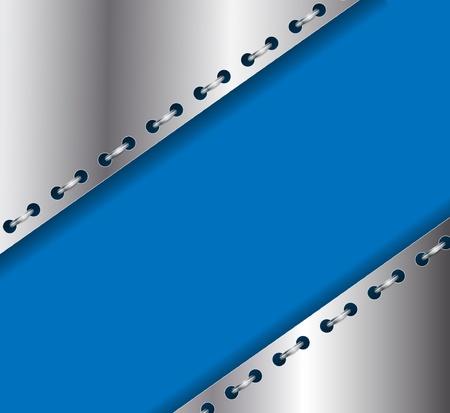 Achtergrond van de hoeken van de folie met perforaties en metalen ringen