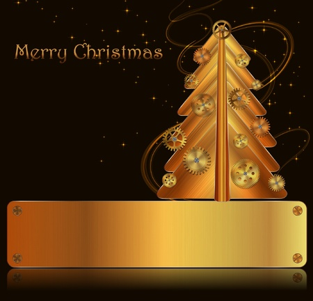 Vector Christmas background, steampunk style Stock Vector - 11386706