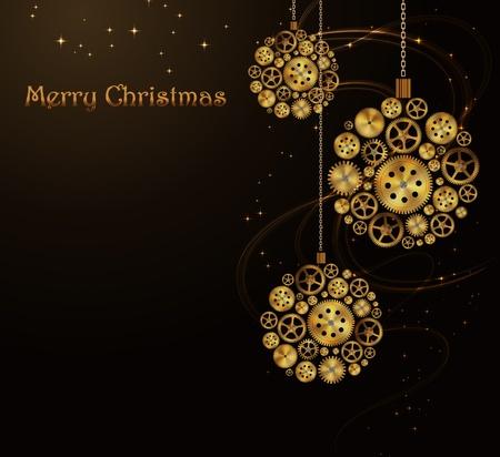 Vector Kerst achtergrond, steampunk stijl