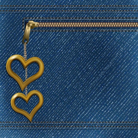 sew label: Vector realistic denim background with two metallic hearts