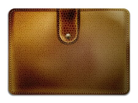 currying: leather purse on a white background, photo-realistic vector  Illustration