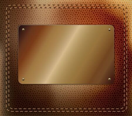 currying: Leather background with metallic label