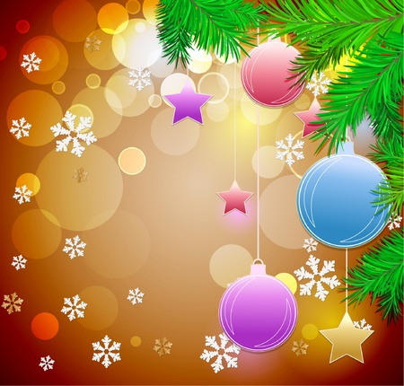 Christmas festive background with balls christmas tree and stars