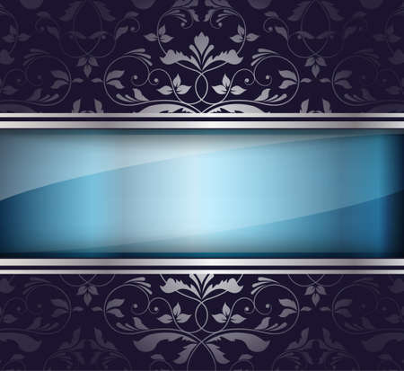 Glass banner with floral pattern  Vector