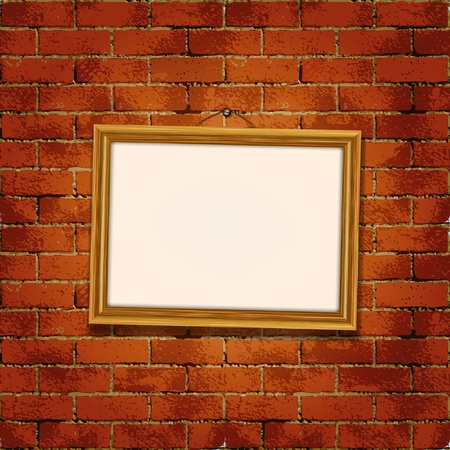 Old wooden frame on the grunge brick wall  Vector
