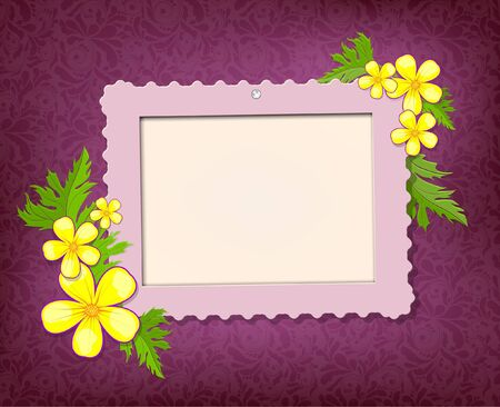 Frame for photo with floral bouquet on the pink fabric background