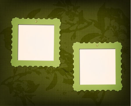 floral fabric: Frames for photo on the grunge floral fabric background