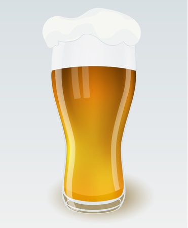 alehouse: Glass of beer with foam, vector illustration