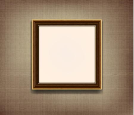 Houten frame voor foto op de stof achtergrond Stock Illustratie