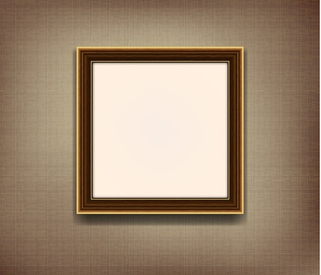 Wooden frame for photo on the fabric background