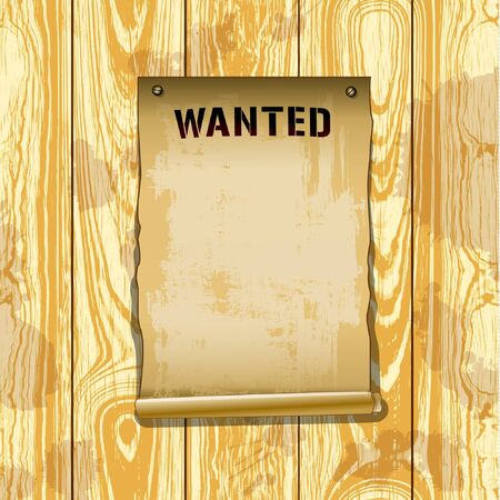 Vector poster wanted on wood texture background  Illustration