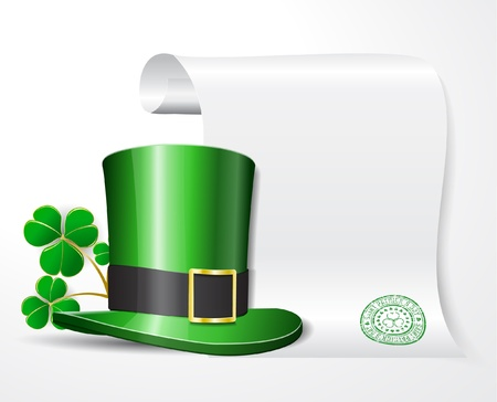 St. Patrick's hat with clover and empty scroll for your text Stock Vector - 11943374