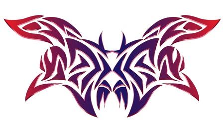 color tribal tattoo: tattoo design, vector illustration