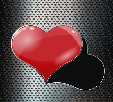 chrome metal: Perforated metal background with hole and heart