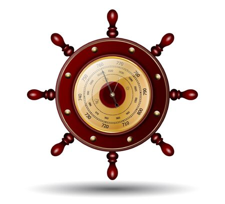 barometer: Sea-craft steering wheel with weather glass Illustration