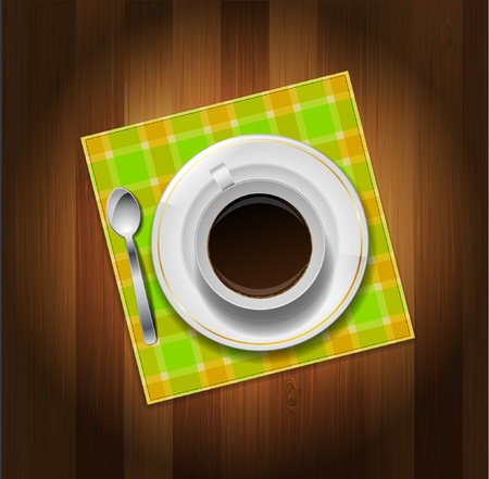 Cup of coffee, spoon and napkin on wooden background Stock Vector - 12356536