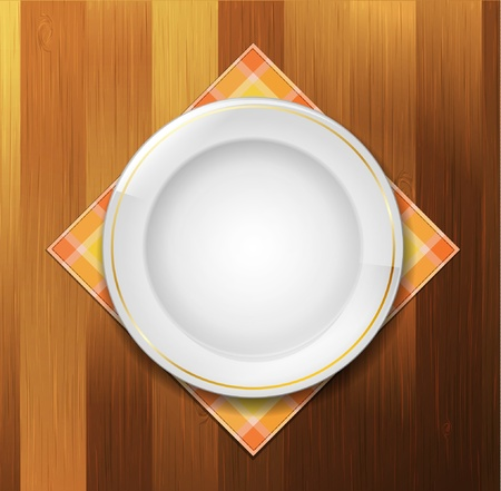 Plate with napkin on wood background Vector