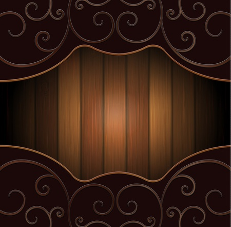 The wooden background with iron forged elements Illustration