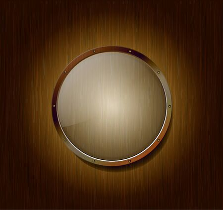building materials: Empty round banner of glass and metal on a wooden background