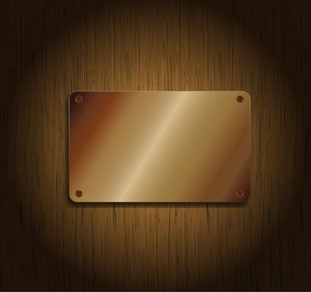 building materials: Wood background with metallic plate