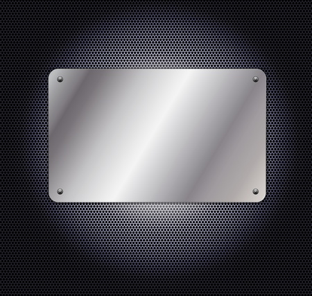 metallic grid background with plate Vector