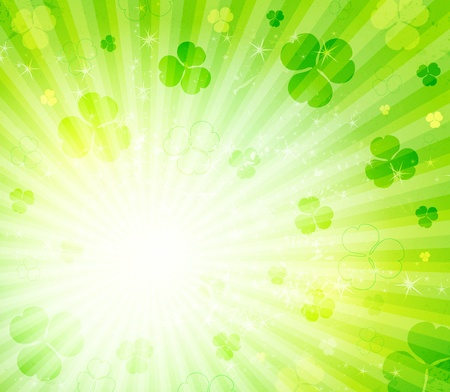glowing abstract background with leaves clover