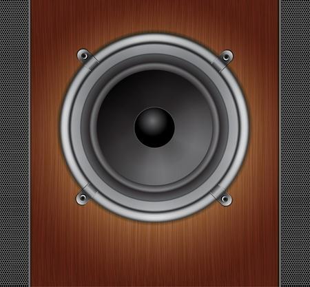 loud speaker: Loud Speaker on a wood background
