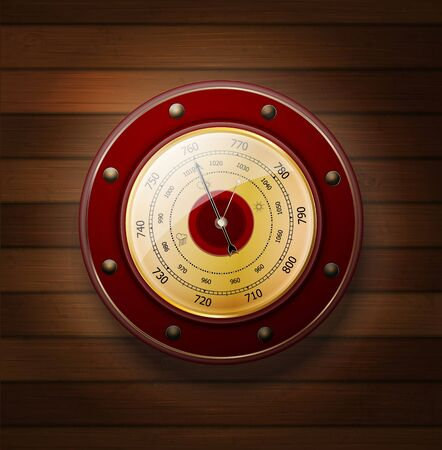 weather glass on a wood background