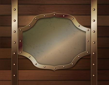 cobre: Fondo de madera con una placa met�lica