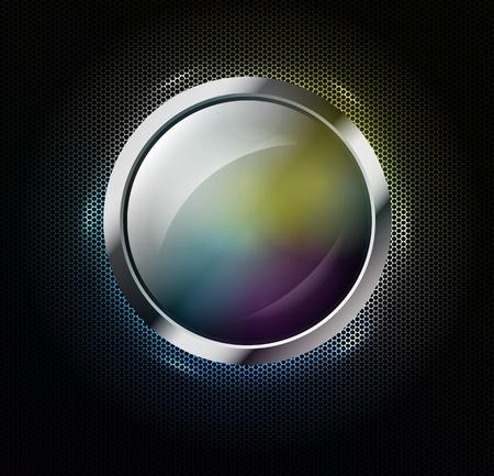 silver circle: Multicolor striscione di vetro su uno sfondo metallico forato Vettoriali