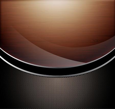 хром: Деревянная полированная фон в сочетании с металлическими перфорированными фоне