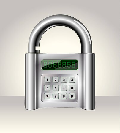 Opened padlock with digital interface,data security concept Vector