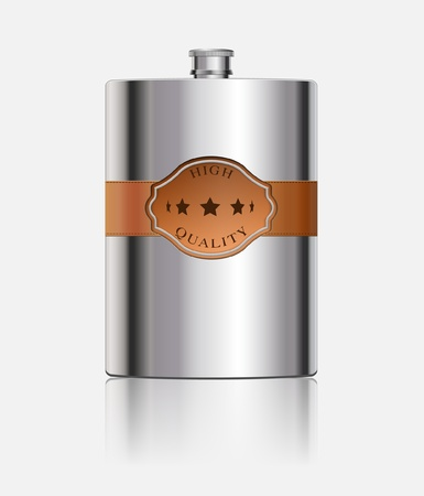 hip flask: Stainless hip flask with leather label Illustration