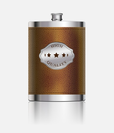 liquor: Stainless hip flask wrapped in leather