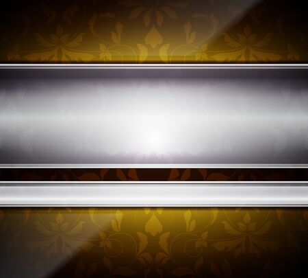 Glass and metal abstract background with floral pattern Vector